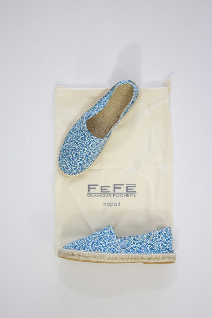 FeFe Espadrilles Wit/Blauw Bloem Print