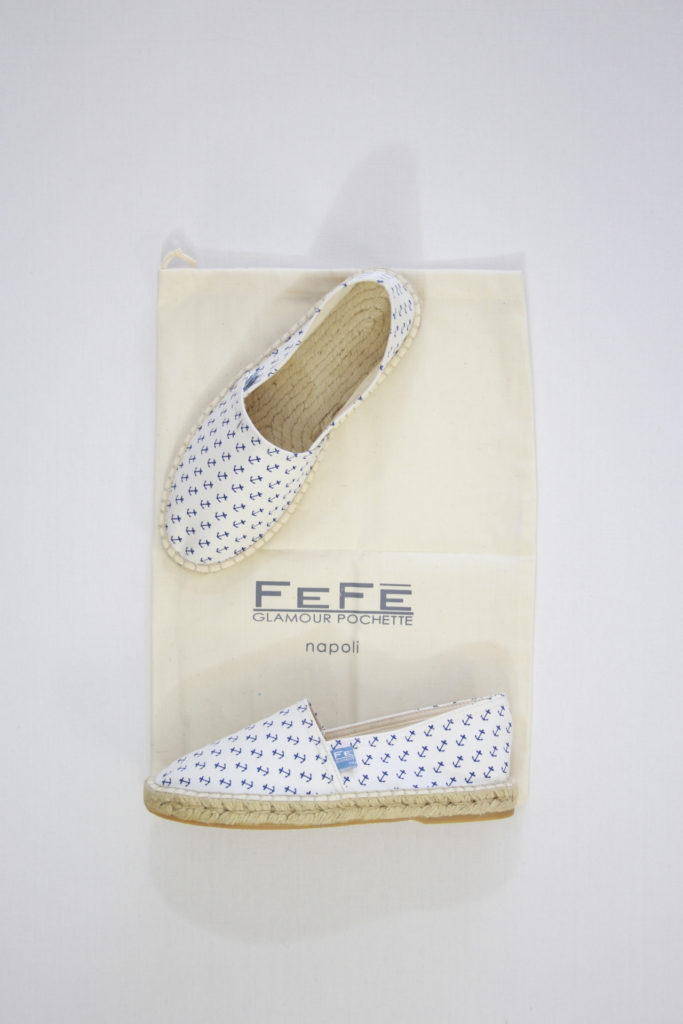 FeFe Espadrilles Wit/Blauw Anker Print