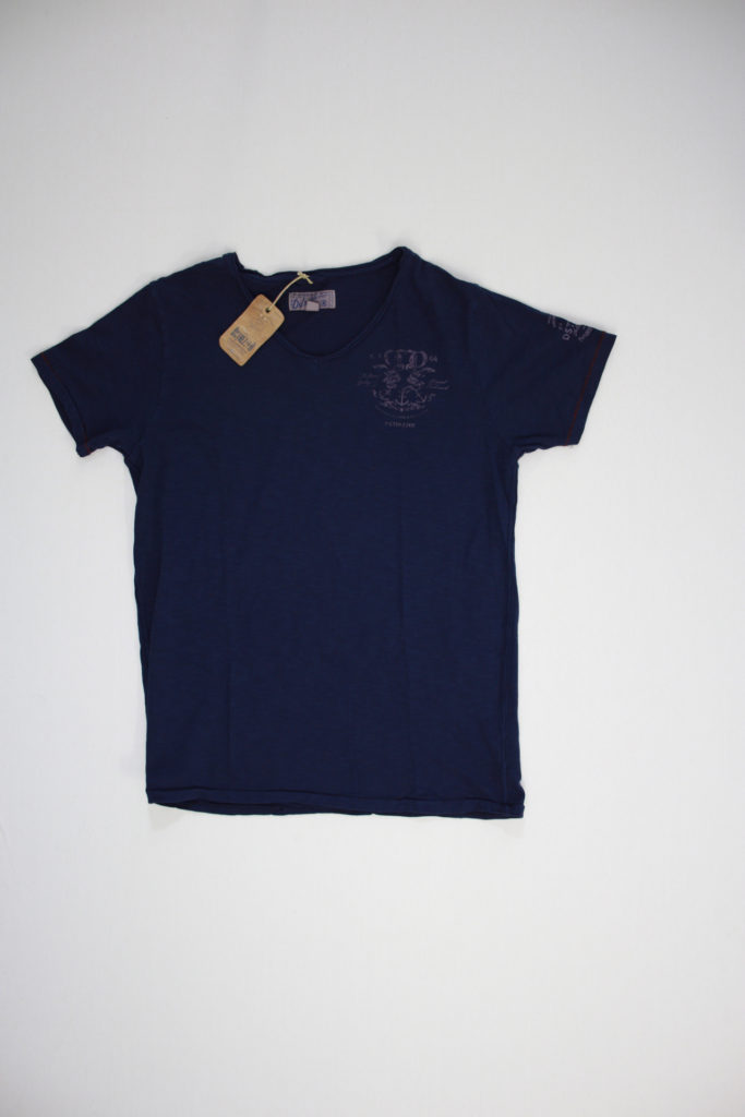 D-Strezzed Heavy Slub V-Neck T-Shirt Navy