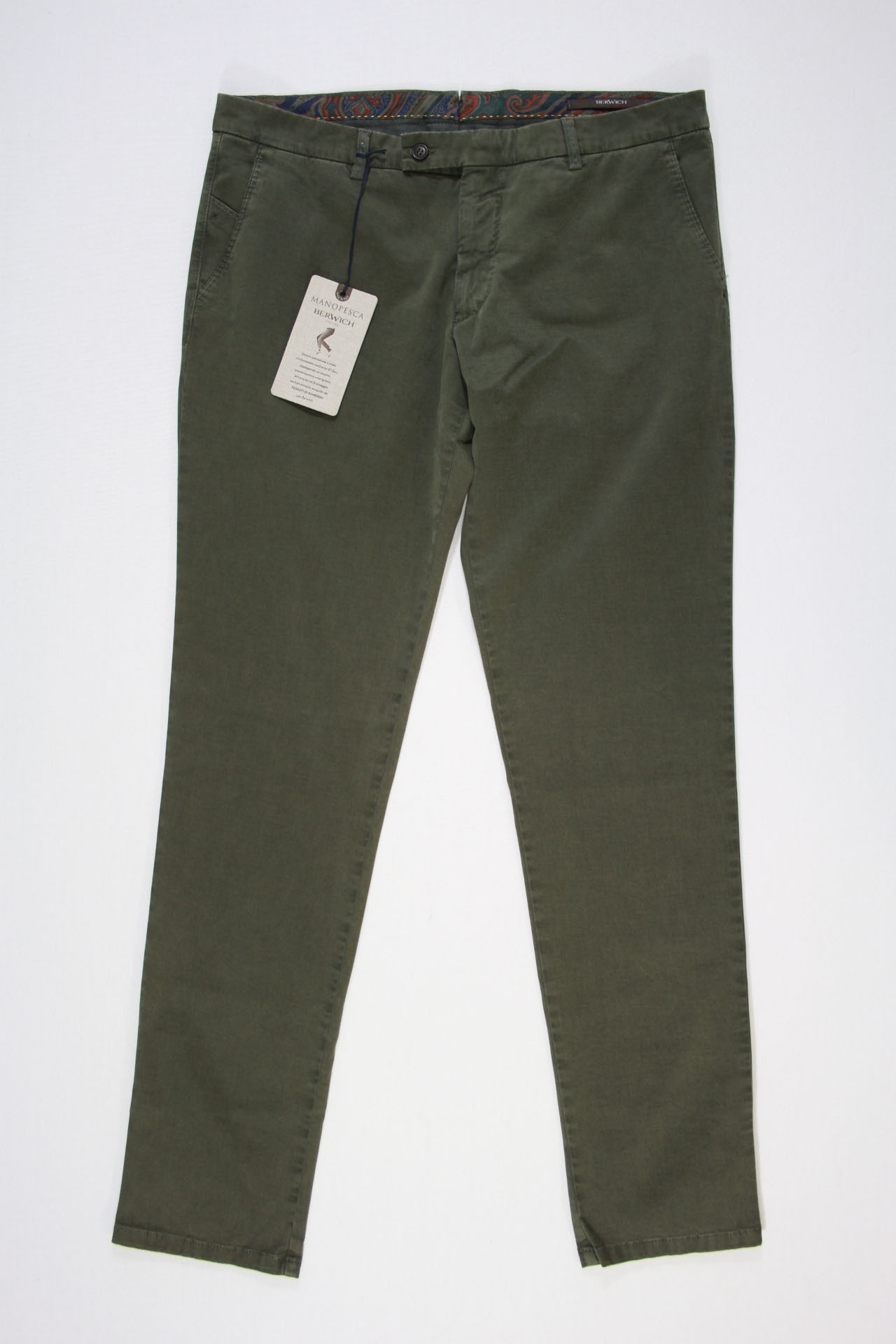Berwich Chino Groen Xgab Army Slim Fit